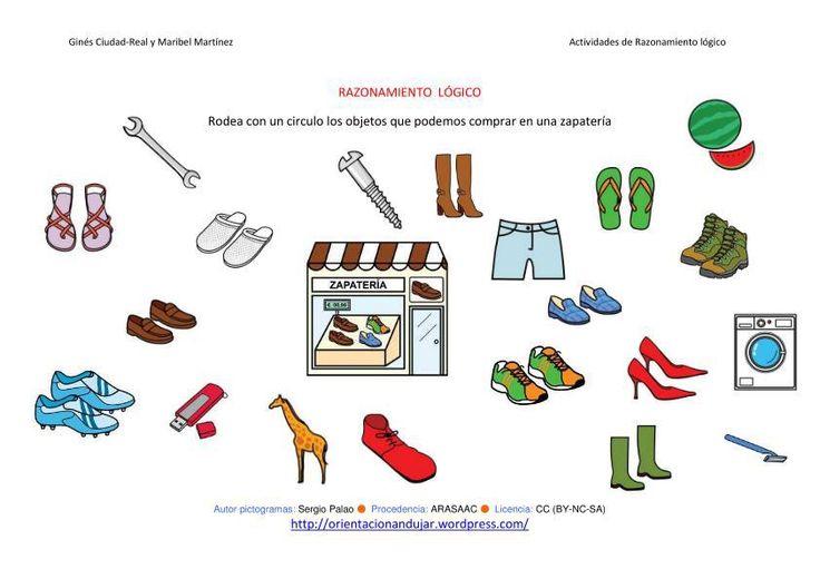 RAZONAMIENTO  LÓGICO categorizar y agrupar ficha-4 zapatería