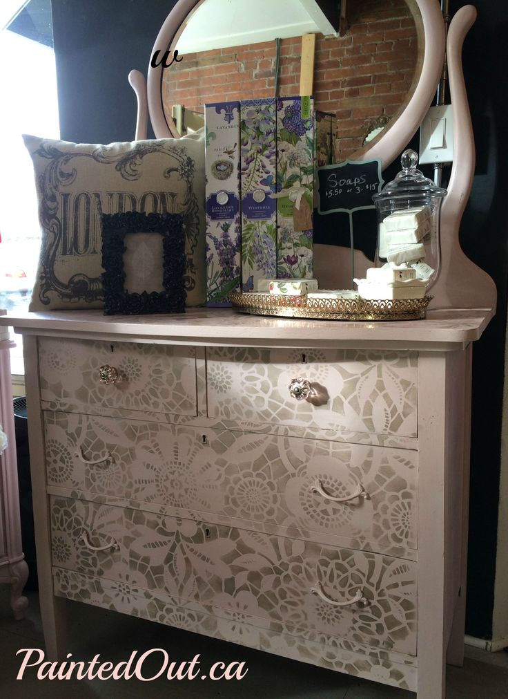 Painted Out Vanity Dresser With Antoinette Chalk Paint From Annie Sloan Lace Stencil