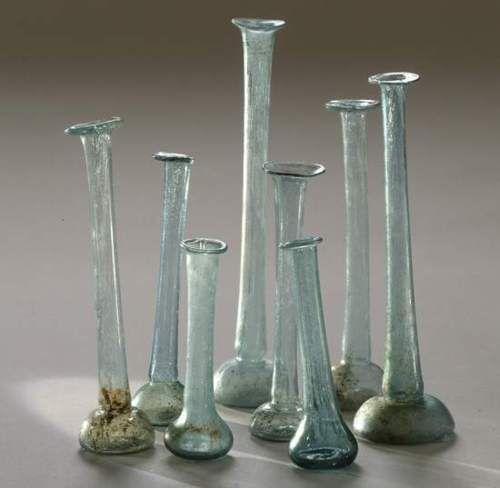 Ancient Roman Glass Perfume Bottles.  Courtesy of Israeli Antiquity Authority