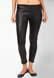 This pair of black coloured leggings will go well with your sexy extra long shirts or tees. Made from Polyester Spandex, this one drapes around your legs like a second skin and retains its shape even through regular wear.