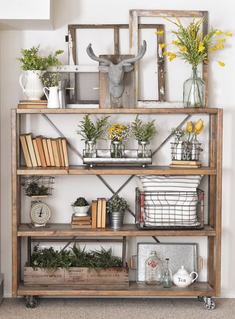 shelf add different sized jars of flowers to bring the outdoors in