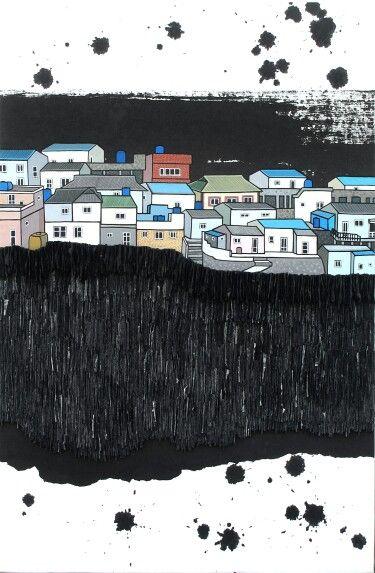 Urban Memory III 2014 39.3 × 59.5cm, mixed media, Korean ink, Acrylic, Hanji paper on panel, La Aeng