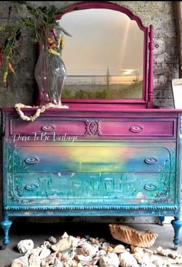 Gazing At The Sunset On The Seashore Paintedfurniture Chalkpaint Sunset In 2020 Funky Painted Furniture