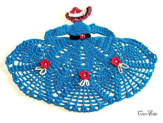 Crochet Crinoline Lady Doily in Blue Dama by CreArtebyPatty
