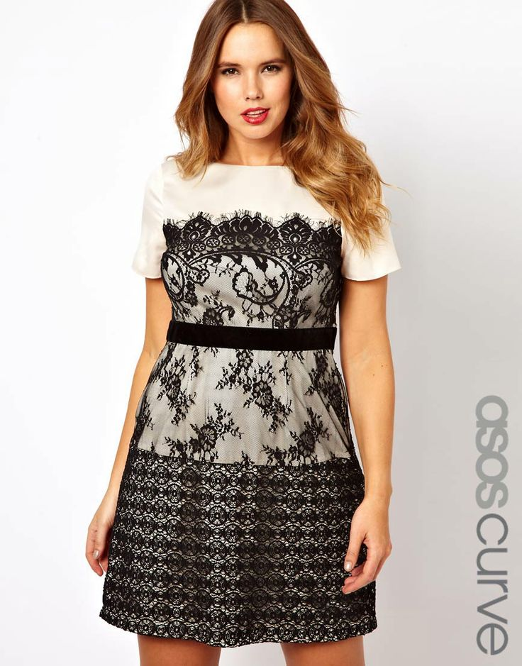 ASOS CURVE Exclusive Dress With Lace Overlay  cut for women of size 20 to 26.