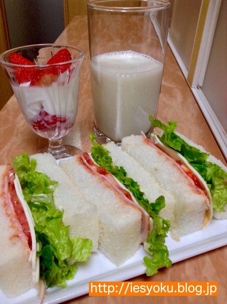 2015/02/22 自家製食パンでハムチーズサンドイッチとバナナジュース