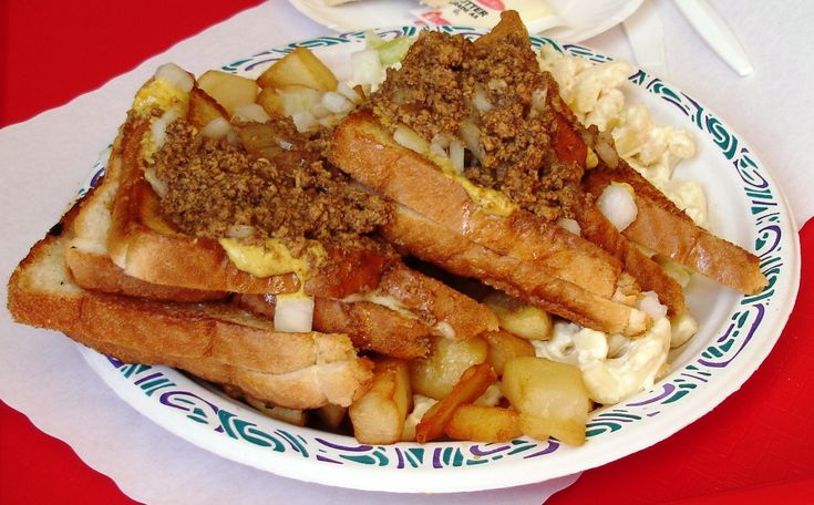 Grilled cheese makes the perfect garbage plate garnish.
