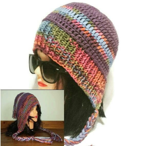 Excited to share the latest addition to my #etsy shop: Earflap Woman Hat, Chullo Beanie, Knit Slouchy Cap with Braids, Crochet Colorful, Hood Hat, with and w/out Tassel, Braided Cap Female bonnet http://etsy.me/2iHJZ5t
