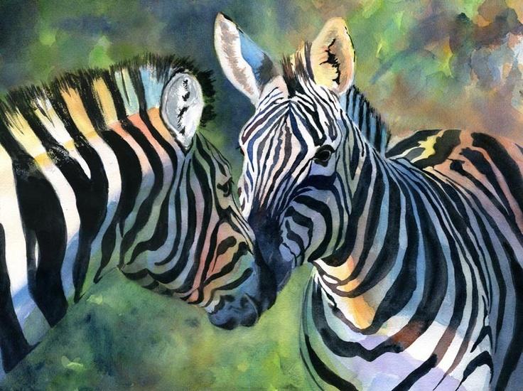 No two zebras have the same marking, just no two humans have the same fingerprint.  Zebra Art Safari Africa Wildlife Nature Art Print by rachelsstudio -zebra x2