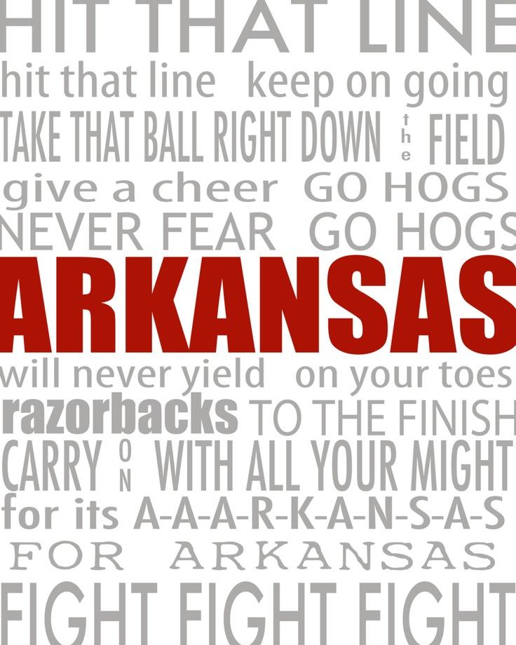 Arkansas Razorback Fight Song / Campus Attractions Printable Subway Art. $8.00, via Etsy.