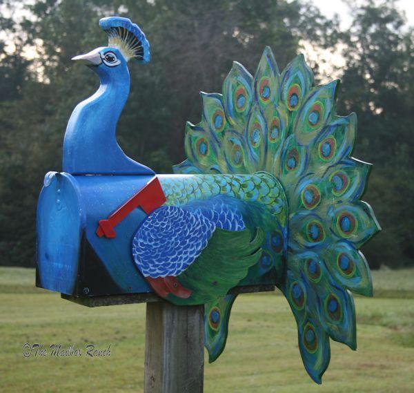 Cool peacock mailbox idea.
