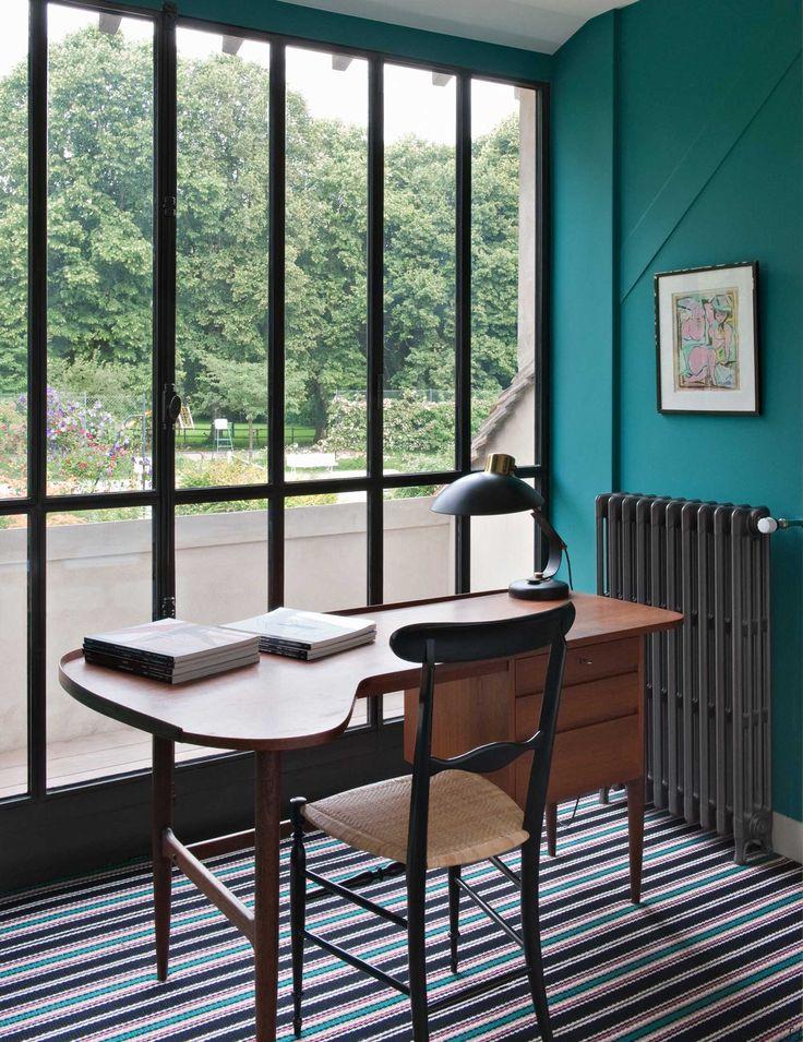 teal walls + window + midmod desk  space by Sarah Lavoine