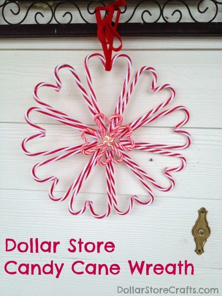 Dollar store candy cane heart wreath - Dollar Store Crafts