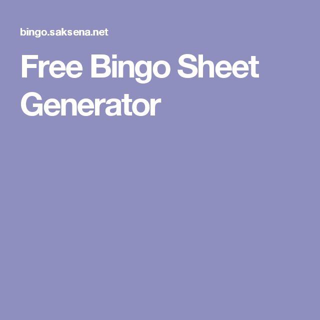 Free Bingo Sheet Generator