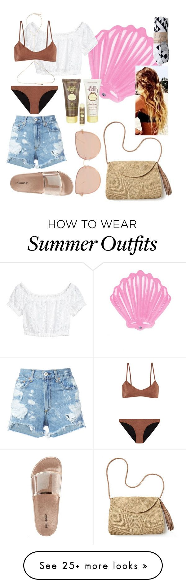 """Beach or Pool day outfit"" by dulcefashion on Polyvore featuring Big Mouth, Rosantica, Melissa Odabash, rag & bone/JEAN, Bamboo, Mar y Sol, Topshop and Sun Bum"