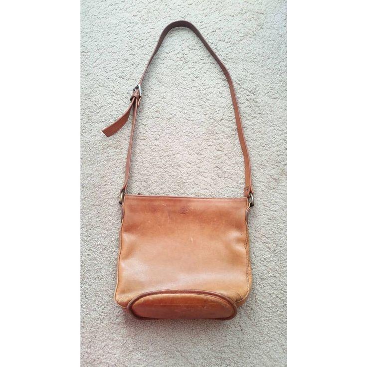 Vintage 1980s Ellington Tan Butterscotch Leather Large Messenger Crossbody Shoulder Adjustable Bag