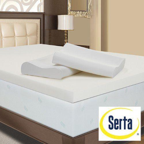 cheap serta 4 inch king memory foam mattress topper with 2 contour pillows