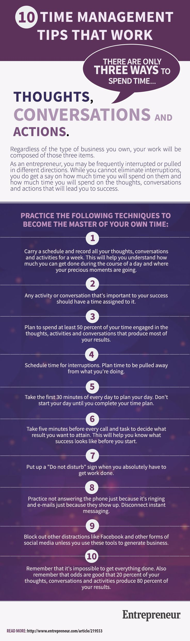 How to Manage Time With 10 Tips That Work (Infographic) #TimeManagement #Infographic #Leadership