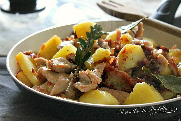 Pollo pancetta e patate in padella