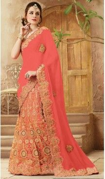 Coral Color Net,Viscose Satin Designers Wedding Bridal Sarees with Stitched #wedding, #sarees, #onlineshopping, #collection, #designer, #boutiques, #sell, #india, #heenastyle, #fashion, #bridel, #saris, #blouse, #reception, #party, #ringceremony, #engagement, @heenastyle , #traditional