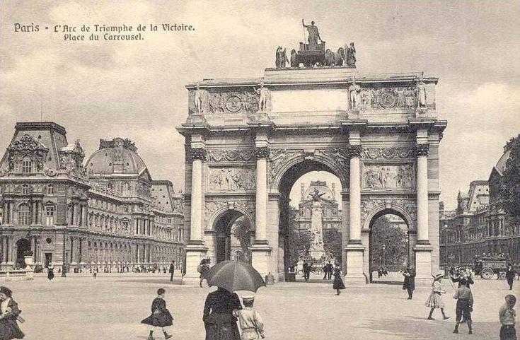 L'Arc de Triomphe de la Victoire et la place du Carrousel, un beau jour vers 1900  (Paris 1er)