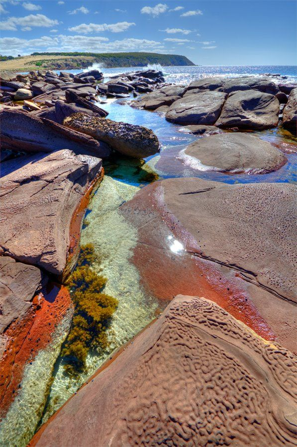 Rock pools at the hidden beach, Stokes Bay, Kangaroo Island, Sth Australia. • rock pool Australia