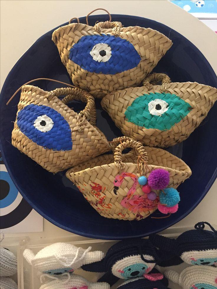 evileye mini straw  baskets by cotton prince www.cottonprince.gr
