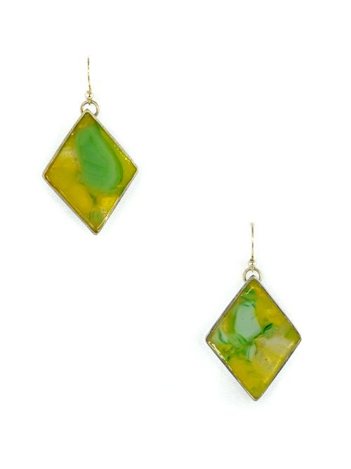 Rhombus earrings with glass