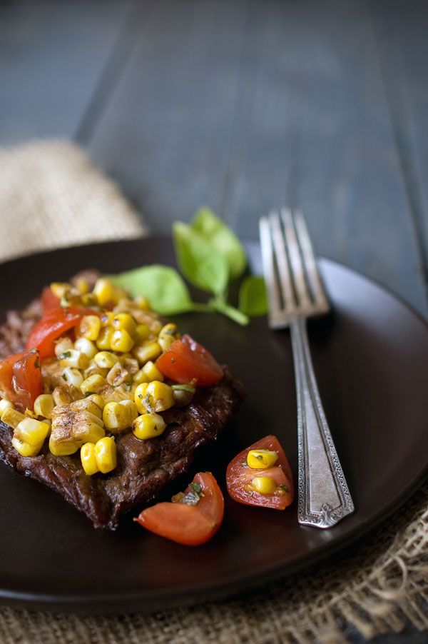 Grilled Balsamic Skirt Steak with Grilled Corn Salsa   a Recipe Girl Cookbook #Giveaway - Savory Simple