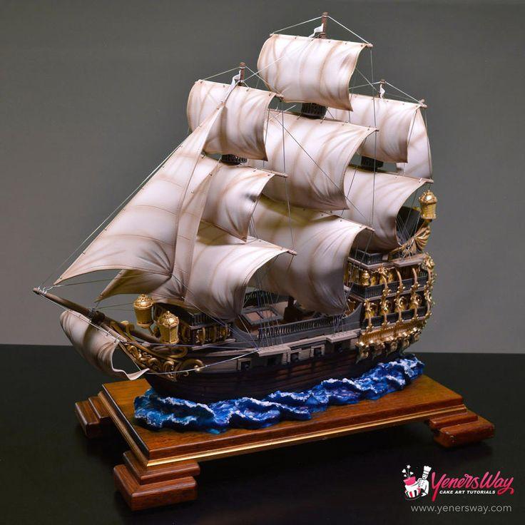 3D Galleon Ship Cake by Yeners Way - Cake Art Tutorials