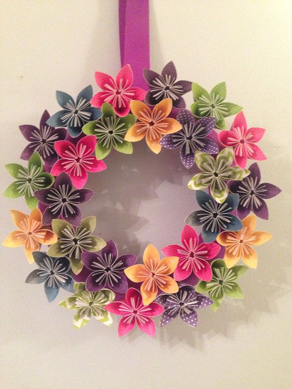 "NEW  Fairy Tale     Origami/Kusudama Paper Flower Wreath 12""/ Flower Arrangement  - Wedding/ bridal shower/  baby shower / reception"