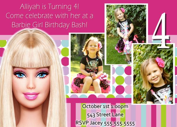 Barbie Birthday Invite this is so cute for my baby's Barbie party