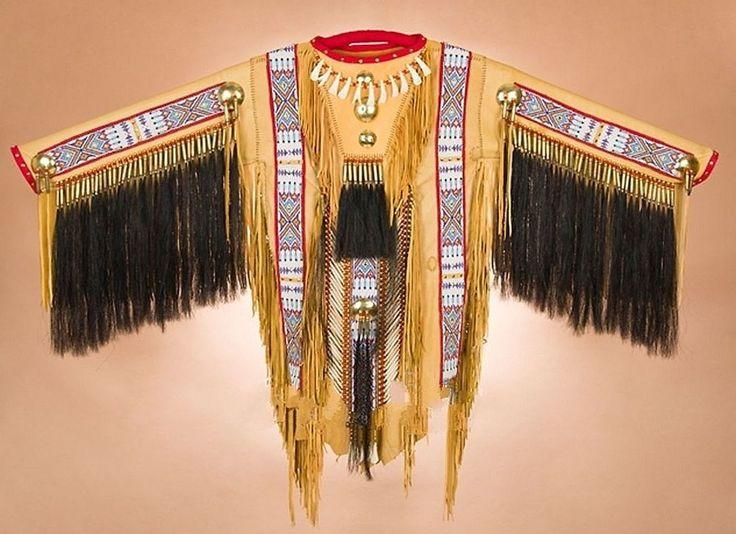 Tigua Indian Buckskin Leather CEREMONIAL WAR SHIRT Warrior Shirt Fringed Beads