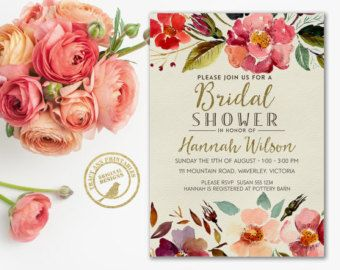 Wedding Shower Invitation   Floral Bridal by TracyAnnPrintables