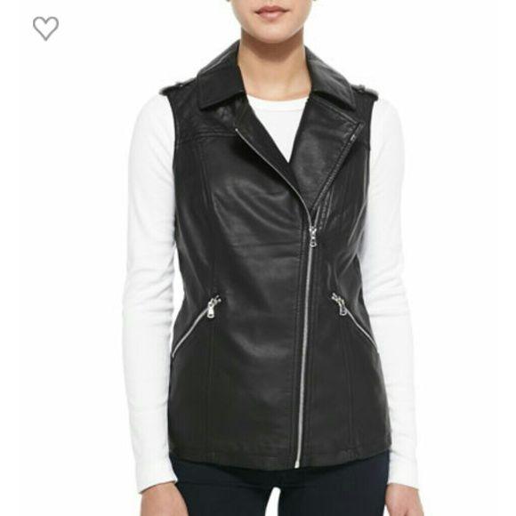 Flash Sale! Black leather vest! Tonight only! Nice long vest 3 zipper pockets and long zipper  closure can wear open too. sweet rain Jackets & Coats Vests