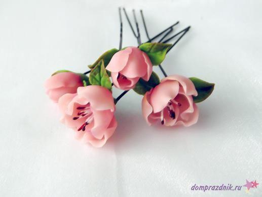 Подарок своими руками из полимерной глины: Шпильки «Каприз»