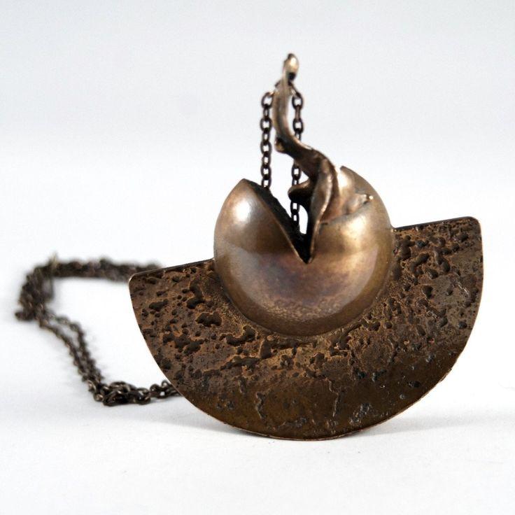 Rare Jane Wiberg Necklace - Large Brutalist Bronze