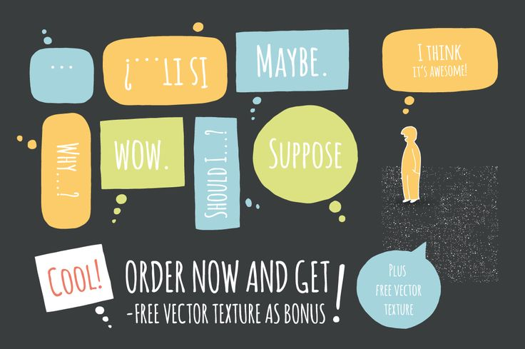Make a speech with speech bubbles! Hand-illustrated vector bubbles with lot of space for your interesting text. Every single bubble was drawn, scanned and edited in adobe illustrator.