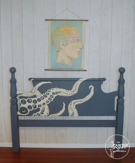 And Why Not---? octopus headboard bedroom painted furniture tentacle  ocean underthesea - blog.countrychicpaint.com