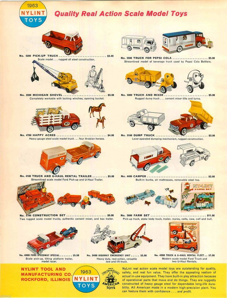 1963 Advert Color Nylint Toy Trucks Pickup U Haul Tow Wrecker Ford Van Camper Ebay Toy Trucks Ford Van Camper Van