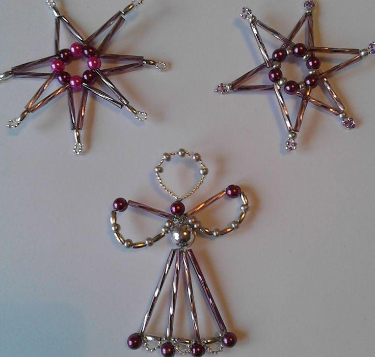 Vánoční ozdoby sada 3ks fialovo-stříbrná