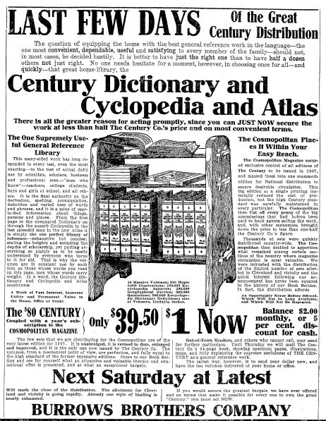 """Ad for Century Dictionary, Cyclopedia and Atlas, published in the Plain Dealer newspaper (Cleveland, Ohio), 22 October 1907. Read more on the GenealogyBank blog: """"How to Use a Dictionary to Help with Your Genealogy."""" http://blog.genealogybank.com/how-to-use-a-dictionary-to-help-with-your-genealogy.html"""