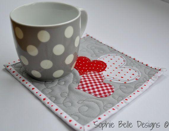 Modern+Valentine's+Day+Mug+Rug/Coasters+by+SophieBelleDesigns,+€8.00