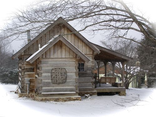 """A Northern Cabin: Half-dovetail construction; built originally about 1850 in """"Big Ivy"""" a mountain settlement some 25 miles northeast of Asheville, NC adjacent to the national forest!"""