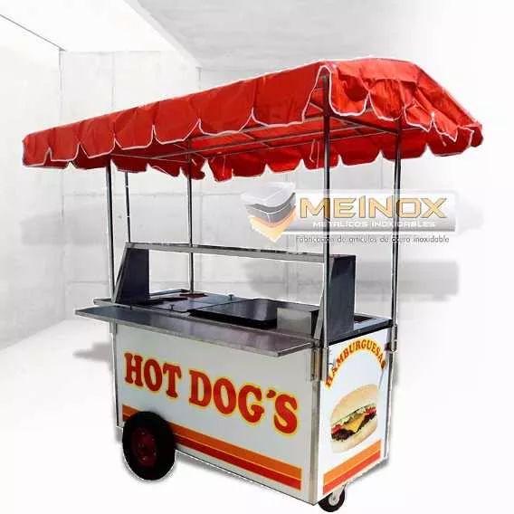 Carrito Hot Dogs Hamburguesas Carreta Puesto Carrito Acero