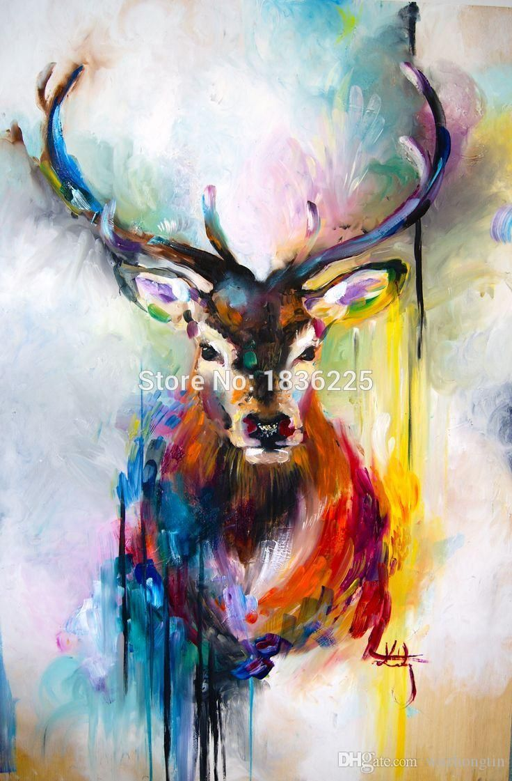 X Series Colorful Animal Deer Portrait Oil Painting On Canvas Hand Painted Stag For Home Decoration