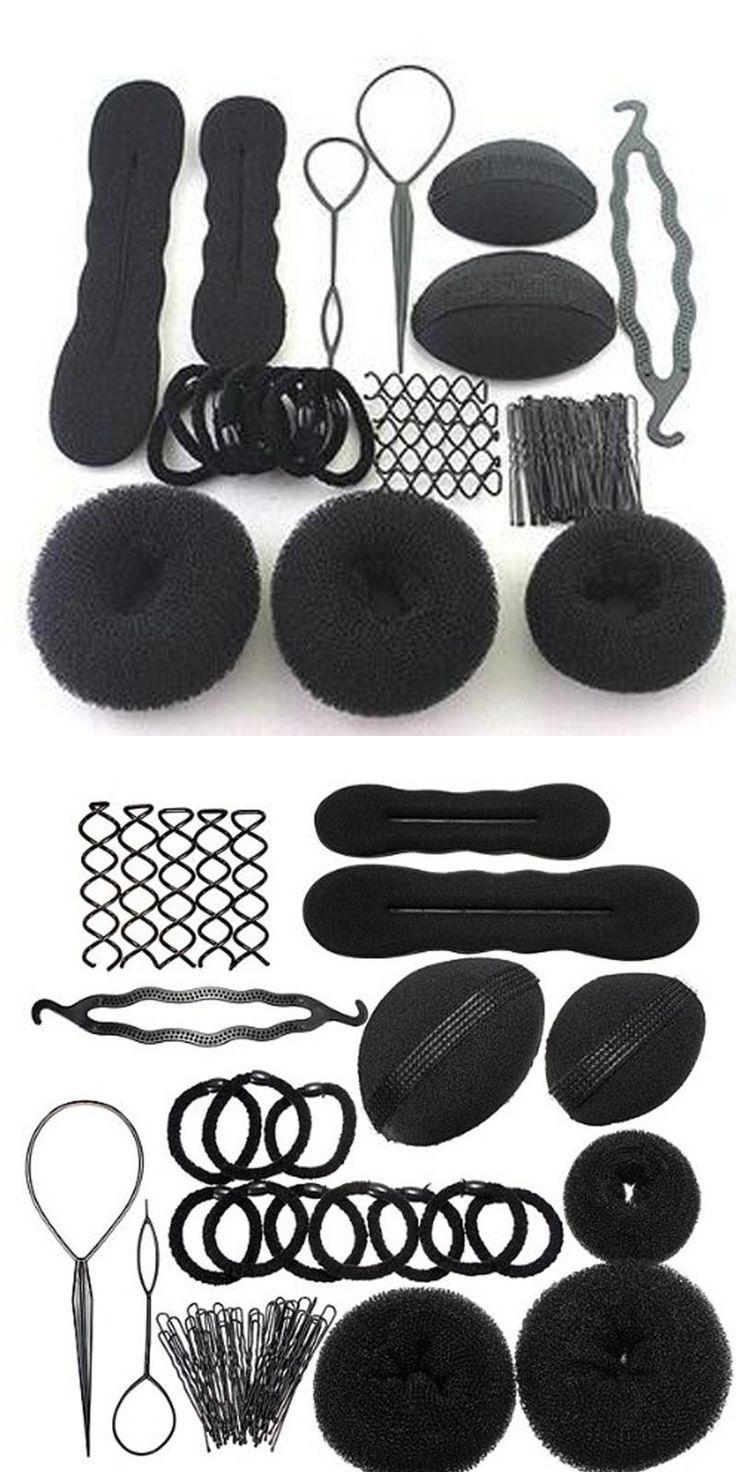 [Visit to Buy] Black New 8 In 1 Magic Hair Braider Hair Bun Clip Pads Curler Roller Hairpins Hairstyle Set Sponge Curl Hair Braiding Tool Set #Advertisement