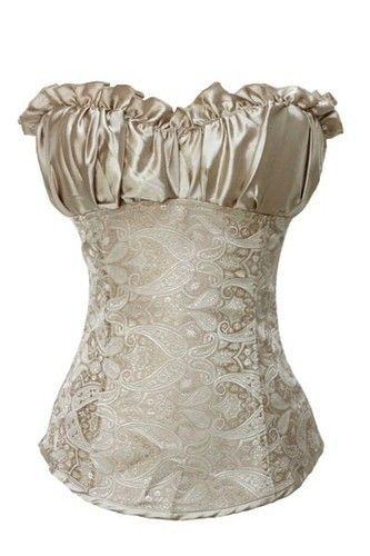 Plus Size Lingere 2X Cream Satin Jacquard Bridal Corset Sexy Valentine Lingerie | eBay