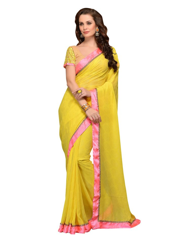 Amazing Yellw oresham work Satin embroidered saree.This attire is beautifully adorned with heavy Zari with Resham Embroidery and Lace Border worked Saree.