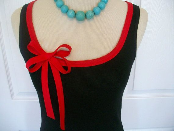 Embellished Tank Top with Red Ribbon Trim and by RaspberryMarket, $32.00